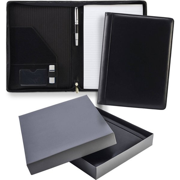 A4 Zipped Leather Conference Folder