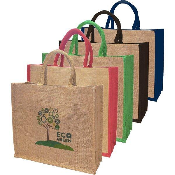 Coloured Jute Shopper Bag