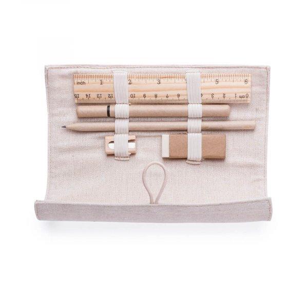 Roll Up Jute Pencil Case Set