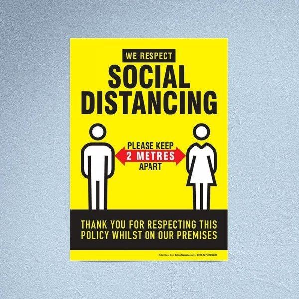 A2 Social Distancing Wall Poster
