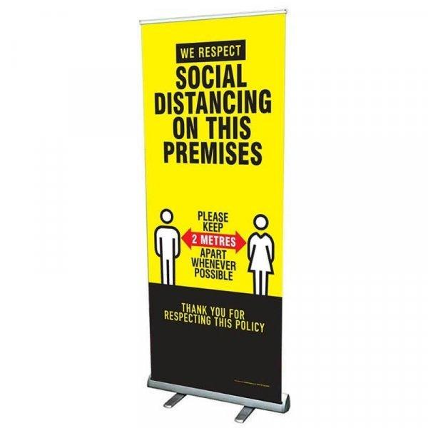 Social Distancing Roller Banner