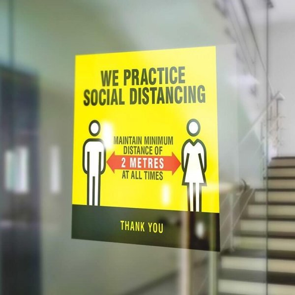 Social Distancing Window Sticker - 210mm Square